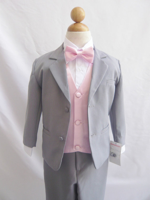 Свадьба - Formal Boy Suit Gray with Pink Light Vest for Toddler Baby Ring Bearer Easter Communion Bow Tie Size 10, 12, 14, and More