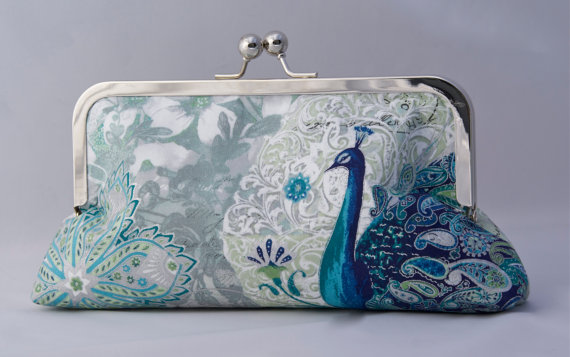 Mariage - Teal and Silver Peacock Custom Clutch Handbag for Holiday Brides gift or Bridesmaids Gift for Holiday Wedding with Peacock