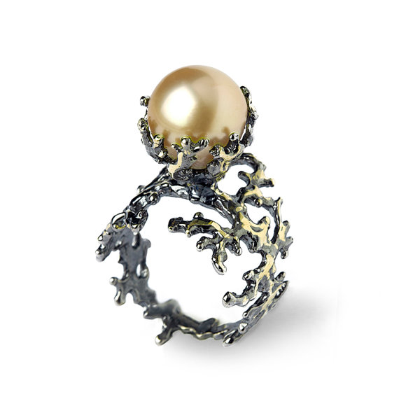 Mariage - BLACK CORAL Golden South Sea Pearl Ring, Golden Pearl Engagement Ring, Black Gold Engagement Ring