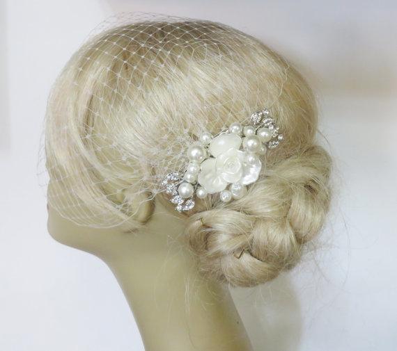 Mariage - Birdcage Veil and a Bridal Pearls Hair Comb (2 Items) Rhinestone Bridal Hair Pearls Comb Weddings veil Silver Blusher Birdcage bridal veil