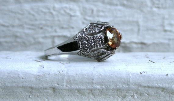 Свадьба - Gorgeous Vintage 14K White Gold Diamond and Orange Sapphire Engagement Ring - 1.78ct