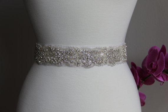 Wedding - Elegant and gorgeous rhinestone trim, beaded detailed bridal sash, wedding sash, rhinestone belt, bridal belt, rhinestone applique