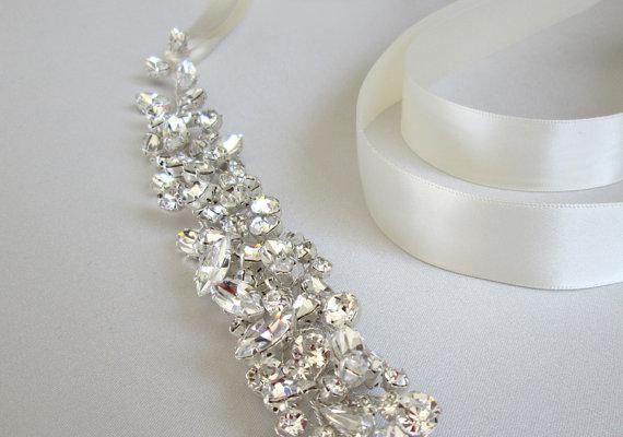 Свадьба - Swarovski floating crystal belt, Bridal belt sash, Crystal sash, Wedding Sash, Swarovski belt sash, Ribbon sash, Rhinestone belt