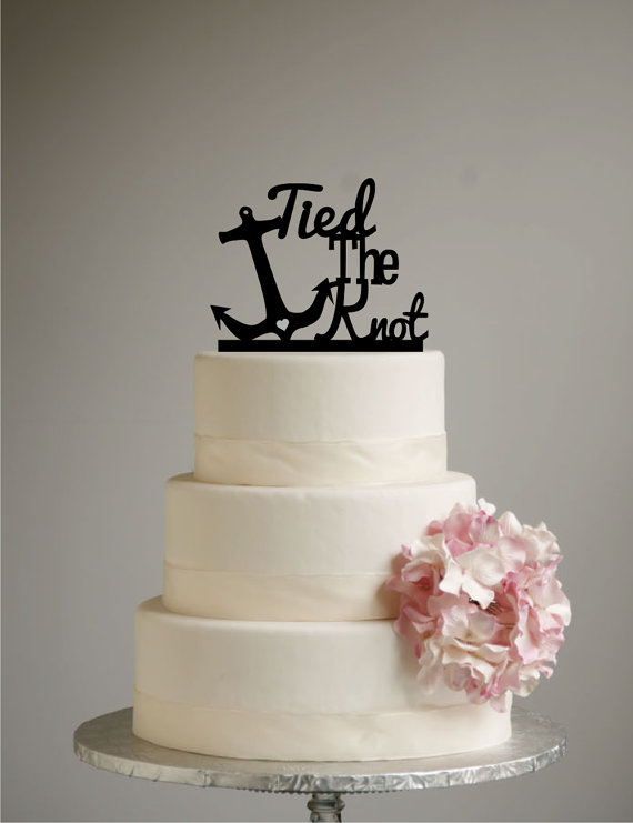 Beach Wedding Cake Topper Tied The Knot Anchor Destination Nautical Hawaii Cruise