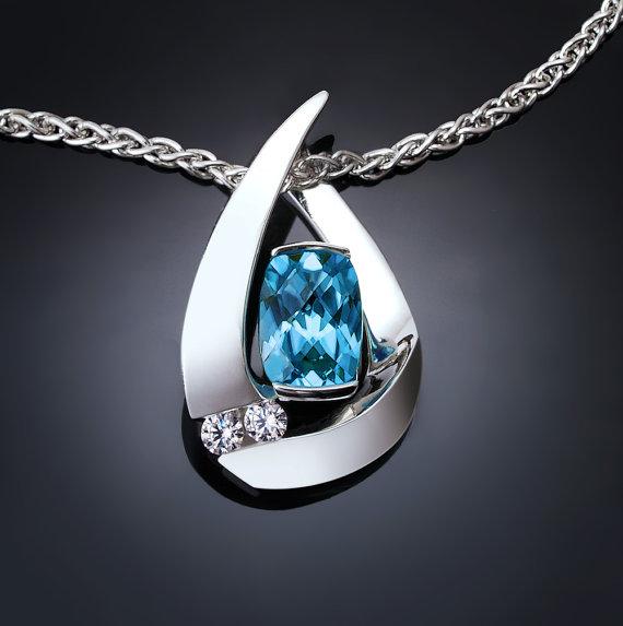 Mariage - blue topaz necklace - argentium silver pendant - december birthstone - wedding - white sapphire - contemporary jewelry - 3378