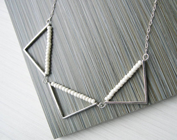 Modern Pearl Necklace Geometric Bridal Jewelry Triangle Unusual