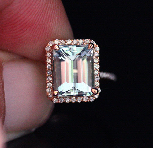 Mariage - Natural Aquamarine and Diamond Engagement Ring 14k Rose Gold with Aquamarine Emerald Cut 10x8mm and Diamonds