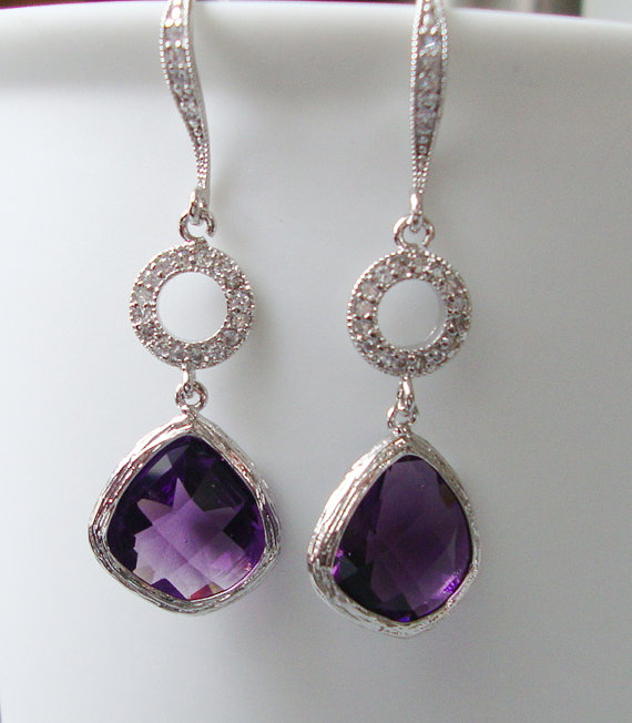 Purple Earrings Amethyst Wedding Bridesmaids Gift Jewelry