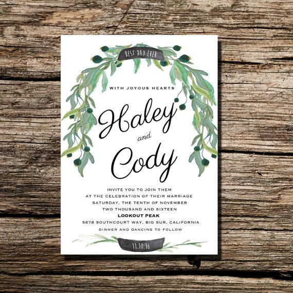 زفاف - Printable Wedding Invitation Watercolor Floral Wreath with Chalkboard Banner Invite -  DIY Printable Wedding Invite