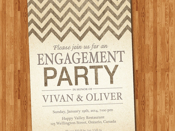 photo relating to Printable Burlap Paper referred to as Engagement Occasion Invitation. Burlap Chevron. Traditional