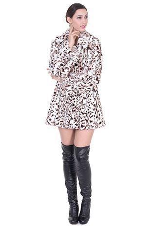 Wedding - Olive/luxury leopard print faux fox fur middle women coat