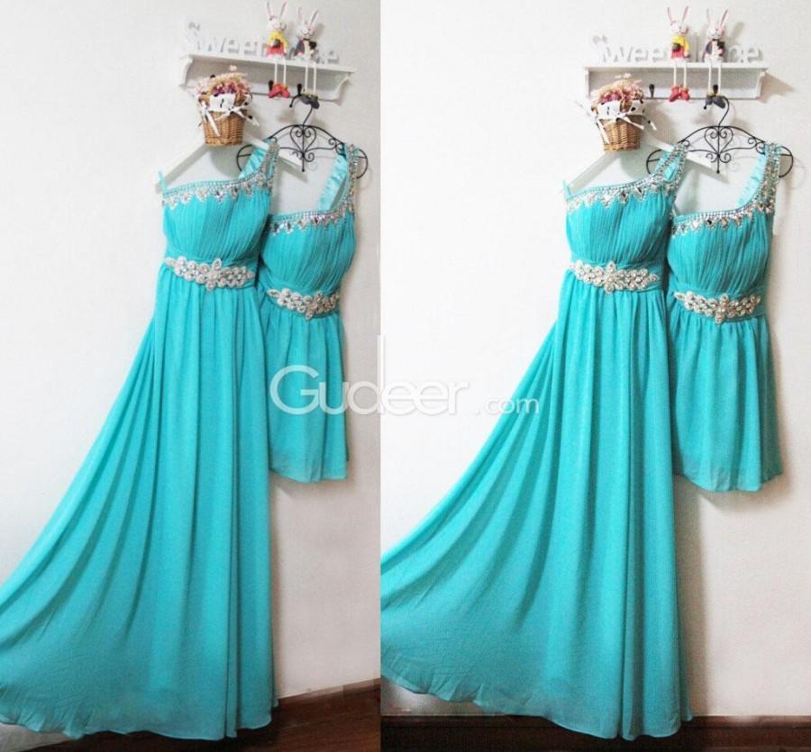 Wedding - One Shoulder Lace Applique Jade Chiffon Bridesmaid Dress