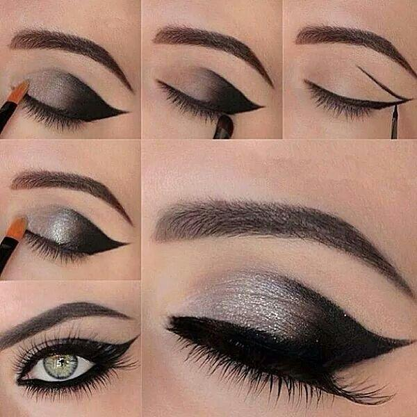 Свадьба - Love the winged eye liner with black and silver color combination