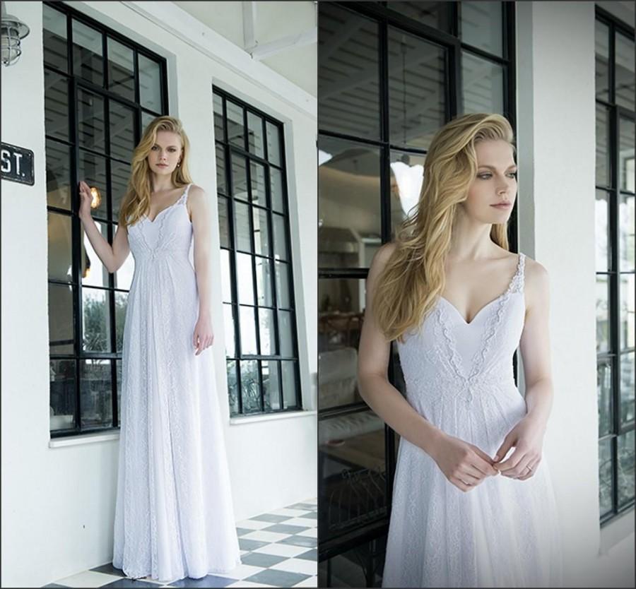 Mariage - Summer Beach 2015 A-Line Wedding Dresses Spaghetti Tamara Straps Zip Back Lace Floor Length Custom Made Stunning Cheap Bridal Dress, $111.27