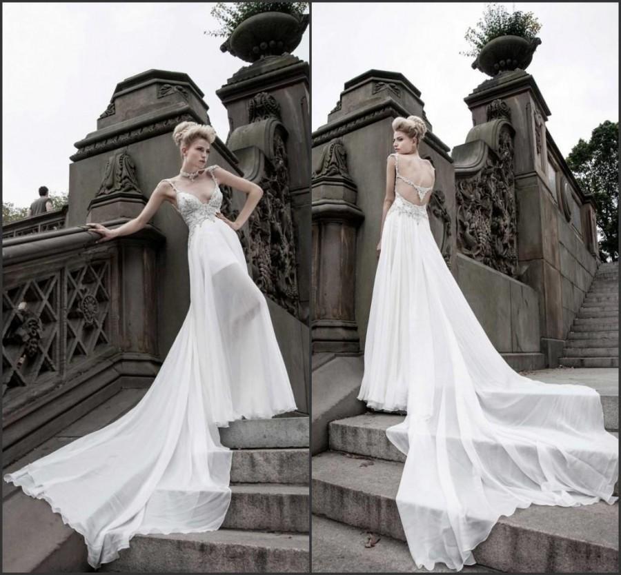 New arrival 2015 pnina tornai wedding dresses spaghetti for Cheap custom wedding dresses