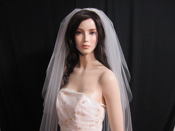 Свадьба - 2 tier cathedral veil, bridal veil, wedding veil with blusher, 120 inches long, with raw cut and round bottom