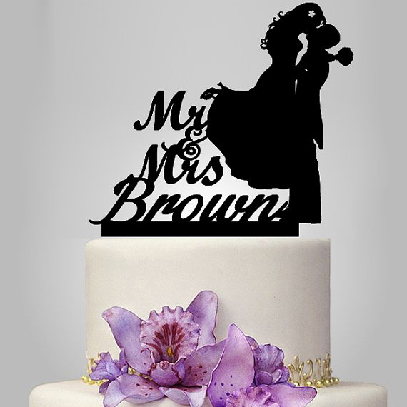 Personalize Wedding Cake Topper Silhouette, Bride And Groom ...
