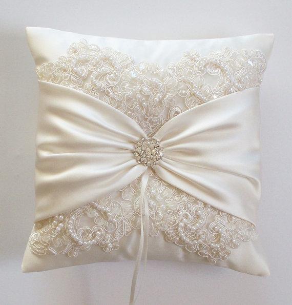 زفاف - Wedding Ring Pillow with Beaded Alencon Lace, Ivory Satin Sash Cinched by Crystals - The MIRANDA Pillow