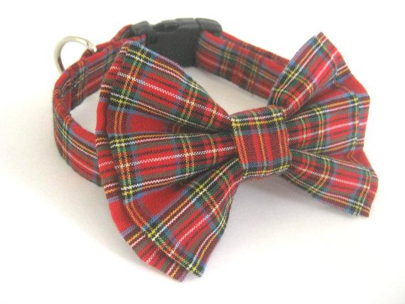 Свадьба - Bow Tie Dog Collar Pet Collar Large Collar With Bow Tie Collar Bowtie Dog Collar Bow Tie Small Collar Bow Tie Plaid Collar  Pet Collar