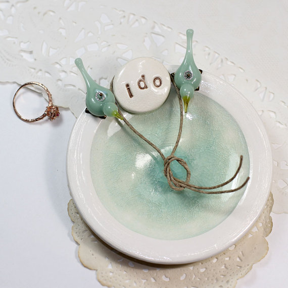 Mariage - I do mint wedding ring bearer dish, Personalized ceramic ring holder pillow alternative