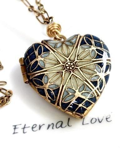 Mariage - Wedding Locket Necklace, Bridal Jewelry, Something Blue, Gift For The Bride, Heart Locket, Brass Locket, Bridal Gift, Bridesmaid Gift