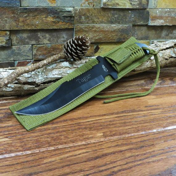 Свадьба - Personalized Hunter Knife - Green Paracord Knife- Gifts for Men- Groomsmen