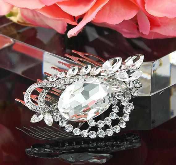 زفاف - Bridal Hair Comb Wedding Hair Comb Crystal Silver Wedding Hair Piece Bridal Jewelry Wedding Jewelry Bridal Accessories Style-47