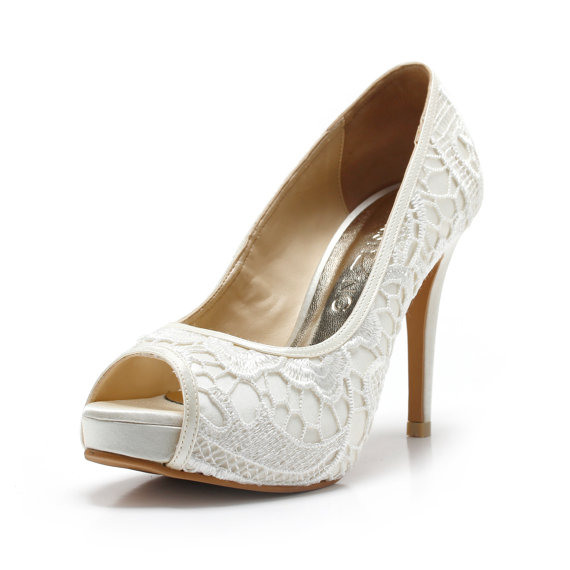 زفاف - Miss Fabulosity,Ivory White Wedding Shoes,Ivory White Bridal Heels,Ivory White Satin Embroidery Lace Wedding Shoes