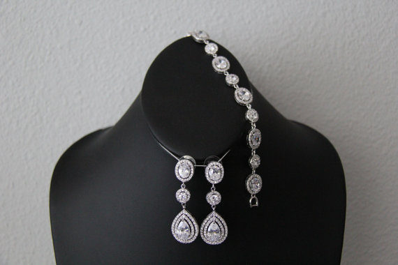 The Eve Set Earrings And Bracelet Wedding Jewelry Bridal