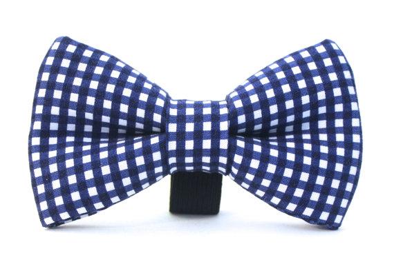 زفاف - Dog Bow Tie, Nautical Dog Bow Tie, Plaid Bow Tie, Doggie Bow Tie
