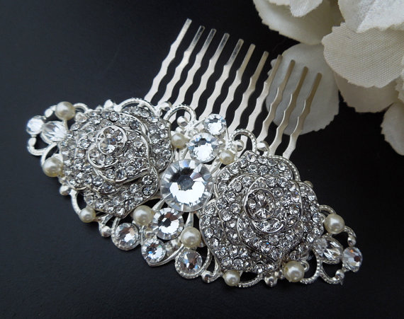 Mariage - Wedding Rhinestone Hair Comb,Bridal Rhinestone Hair Comb,Ivory Swarovski Pearls,Rose Rhinestone Hair Comb,Bridal Jewelry,Wedding,Bride,ROSIE