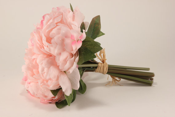Свадьба - Baby Pink Peony Bouquet - Silk Flowers - Wedding Bridal - tossing bouquet - wedding, bridal, party, bridesmaids