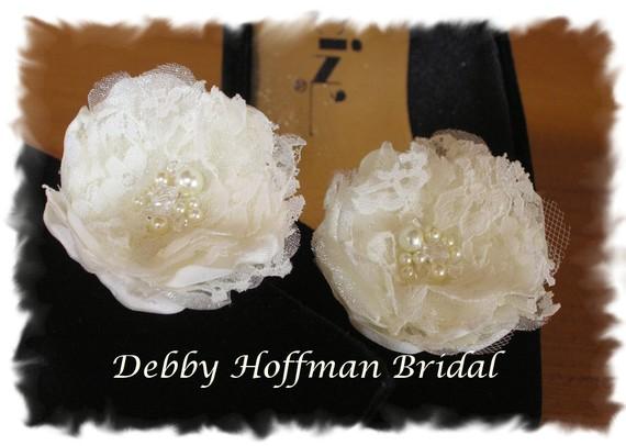 Hochzeit - Bridal Wedding Flowers, Floral Shoe Clips, Hair Clips, Pins With Pearls & Swarovski Crystals, No. 1011FSPC2 Wedding Accessories, Shoe Clips