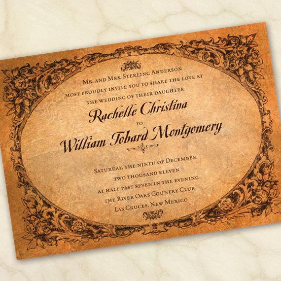 Wedding - vintage wedding invitation, antique wedding invitation, old world bridal shower invitation
