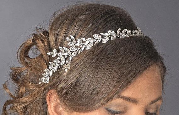 Bridal Headband Wedding Headpiece Rhinestone Leaf Crystal Tiara