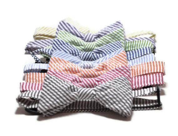 Mariage - Boys Bow Tie Seersucker Stripe - Choose Your Color