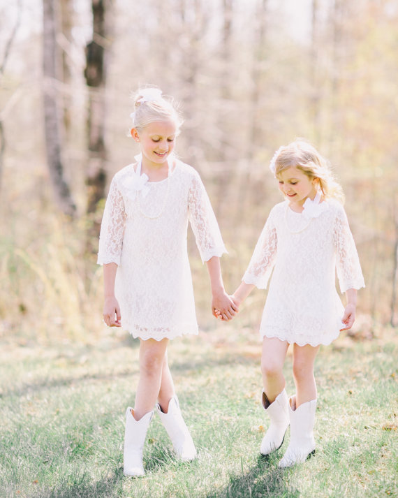 زفاف - White Flower Girl dress,WThe Autumn - Vintage Lace, Chiffon, Flower Girl Dress for toddlers and Wedding,Flower Girl Lace Dress, toddlers,