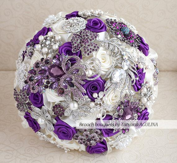 Brooch bouquet purple ivory and silver wedding brooch bouquet purple ivory and silver wedding brooch bouquet jeweled bouquet junglespirit Image collections