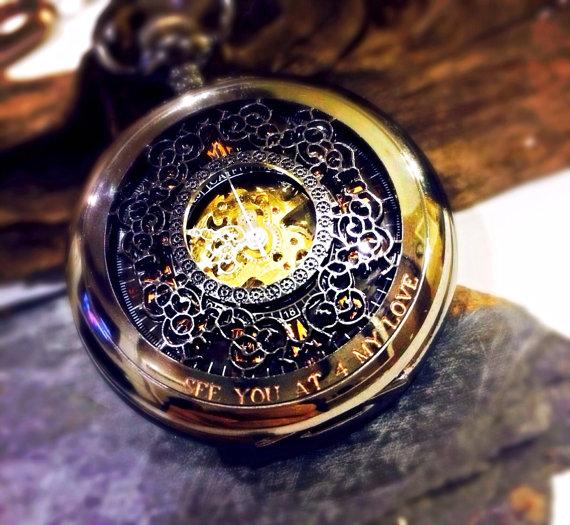 Hochzeit - Personalized Mechanical pocket watch- Steampunk- Mens Pocket Watch Engravable Groomsmen gifts VM003