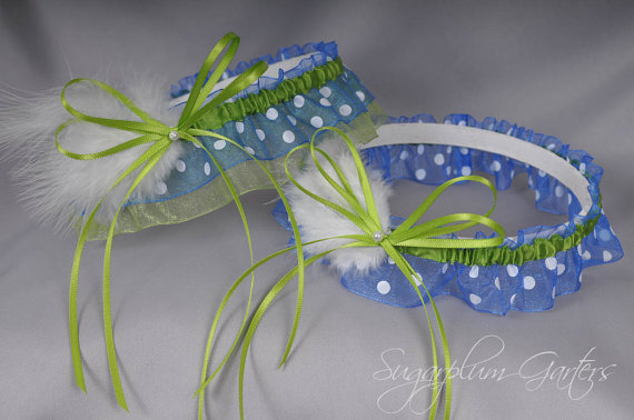 Mariage - Wedding Garter Set in Lime Green and Royal Blue Polka Dot with Pearls and Marabou Feathers