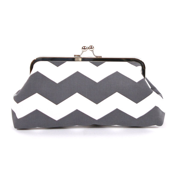 Mariage - Gray and White Chevron Clutch, Bridesmaid Gifts, Gray Wedding, Clutch Purse Bag