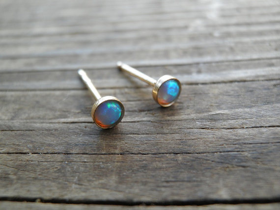 Mariage - Opal Stud Earrings, Classic 3mm 14k Gold Filled Studs, Blue Opal, Gold Opal Posts, Statement Gift, October Birthstone, Bridal Jewelry