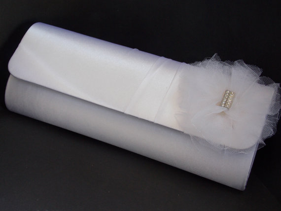 Mariage - Silk Clutch, Wedding Clutch, Wedding Bag, Bridal Clutch, Tulle, Weddings, Bride Bag, Bride Purse, Rhinestones, Purse for Wedding
