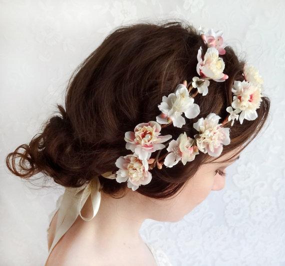 Boda - ivory flower crown, bridal floral crown, pink wedding hair accessories, hair wreath, bridal headpiece -SHEPHERDESS - pink bridal head piece