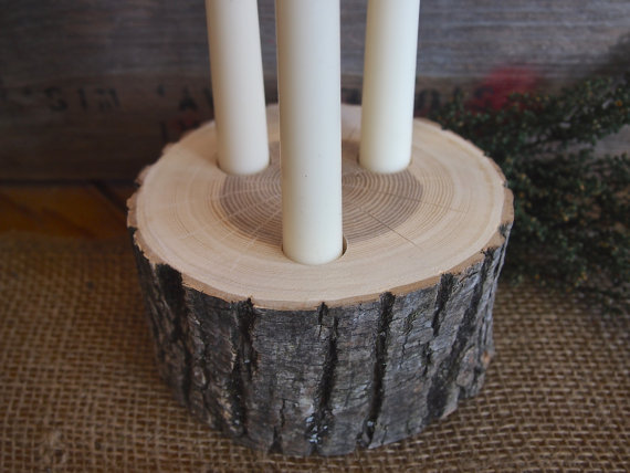 Wood CENTERPIECE Candle Holder Block Rustic Wedding