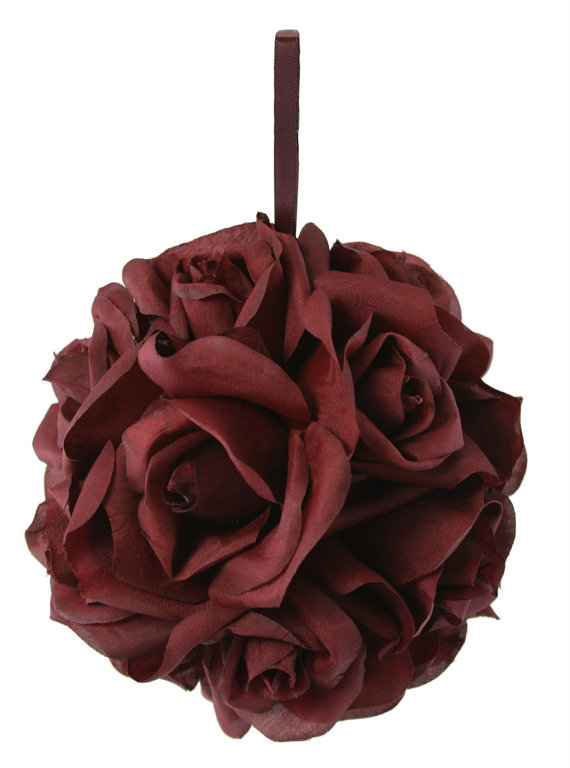 Wedding - Garden Rose Kissing Ball - Burgundy - 6 Inch Pomander