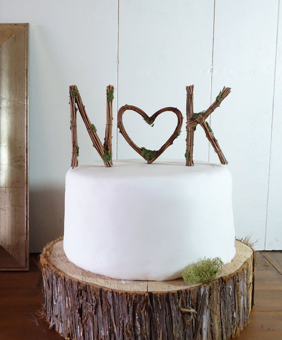 Wedding - Rustic Wedding Cake Topper - Any Two Vine Letters with Heart