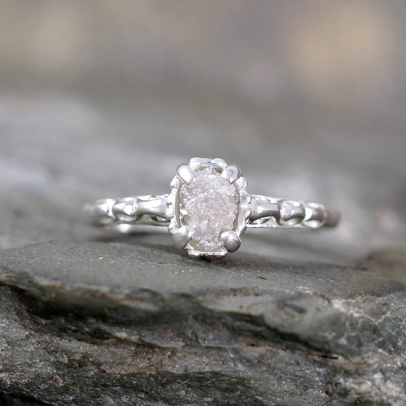 Raw Uncut Rough Diamond Solitaire And Sterling Silver ...
