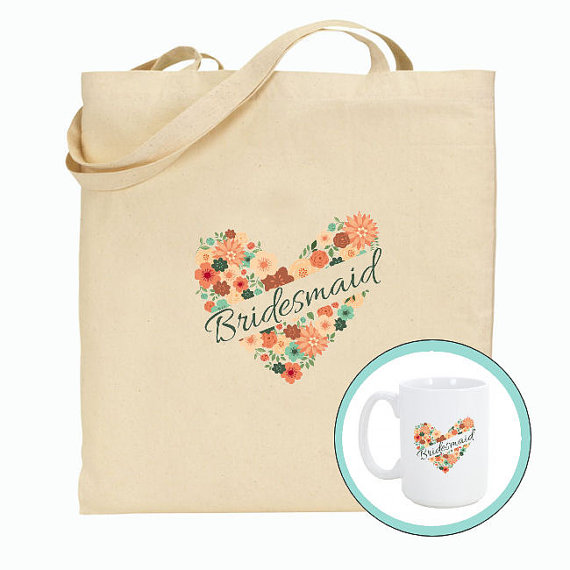 Mariage - Tote bag and Mug Combo, Bidesmaid, Groomsmen Wedding Bags, Customize for FREE