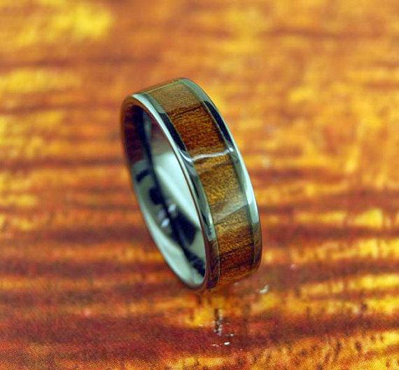 Mariage - 6mm Black Ceramic Koa Wood Ring - Wedding Ring - Promise Ring / Engagement Ring